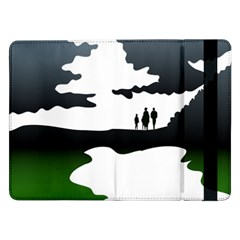 Landscape Silhouette Clipart Kid Abstract Family Natural Green White Samsung Galaxy Tab Pro 12 2  Flip Case