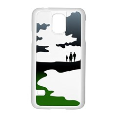 Landscape Silhouette Clipart Kid Abstract Family Natural Green White Samsung Galaxy S5 Case (white)