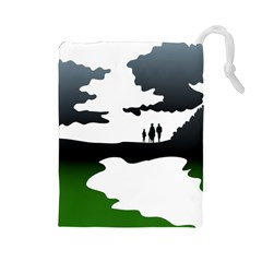 Landscape Silhouette Clipart Kid Abstract Family Natural Green White Drawstring Pouches (large)
