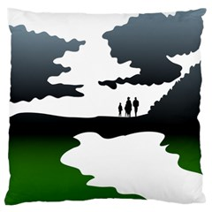 Landscape Silhouette Clipart Kid Abstract Family Natural Green White Large Flano Cushion Case (two Sides)
