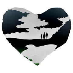 Landscape Silhouette Clipart Kid Abstract Family Natural Green White Large 19  Premium Flano Heart Shape Cushions