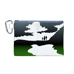Landscape Silhouette Clipart Kid Abstract Family Natural Green White Canvas Cosmetic Bag (m)