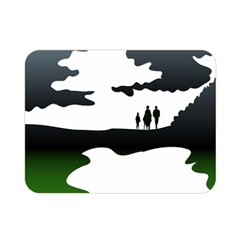 Landscape Silhouette Clipart Kid Abstract Family Natural Green White Double Sided Flano Blanket (mini)