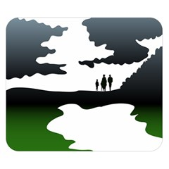 Landscape Silhouette Clipart Kid Abstract Family Natural Green White Double Sided Flano Blanket (small)