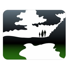Landscape Silhouette Clipart Kid Abstract Family Natural Green White Double Sided Flano Blanket (large)