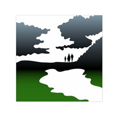 Landscape Silhouette Clipart Kid Abstract Family Natural Green White Small Satin Scarf (square)