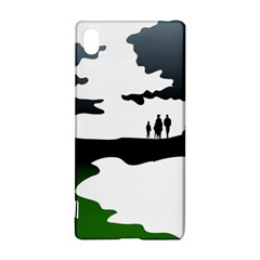 Landscape Silhouette Clipart Kid Abstract Family Natural Green White Sony Xperia Z3+