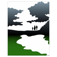 Landscape Silhouette Clipart Kid Abstract Family Natural Green White Drawstring Bag (large)