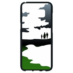 Landscape Silhouette Clipart Kid Abstract Family Natural Green White Samsung Galaxy S8 Black Seamless Case