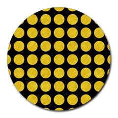 Circles1 Black Marble & Yellow Colored Pencil (r) Round Mousepads