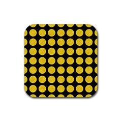 Circles1 Black Marble & Yellow Colored Pencil (r) Rubber Square Coaster (4 Pack)