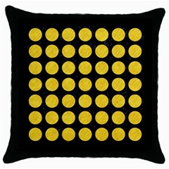 Circles1 Black Marble & Yellow Colored Pencil (r) Throw Pillow Case (black)