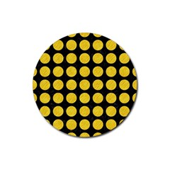 Circles1 Black Marble & Yellow Colored Pencil (r) Rubber Coaster (round)