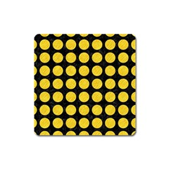 Circles1 Black Marble & Yellow Colored Pencil (r) Square Magnet