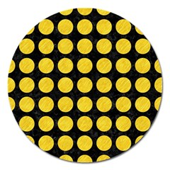Circles1 Black Marble & Yellow Colored Pencil (r) Magnet 5  (round)