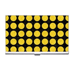 Circles1 Black Marble & Yellow Colored Pencil (r) Business Card Holders
