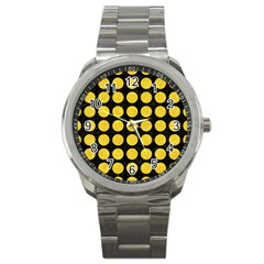 Circles1 Black Marble & Yellow Colored Pencil (r) Sport Metal Watch
