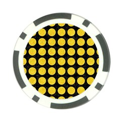 Circles1 Black Marble & Yellow Colored Pencil (r) Poker Chip Card Guard