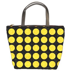 Circles1 Black Marble & Yellow Colored Pencil (r) Bucket Bags