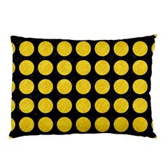 Circles1 Black Marble & Yellow Colored Pencil (r) Pillow Case