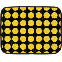 Circles1 Black Marble & Yellow Colored Pencil (r) Double Sided Fleece Blanket (mini)