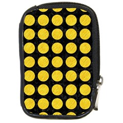 Circles1 Black Marble & Yellow Colored Pencil (r) Compact Camera Cases