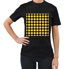 Circles1 Black Marble & Yellow Colored Pencil (r) Women s T Shirt (black)