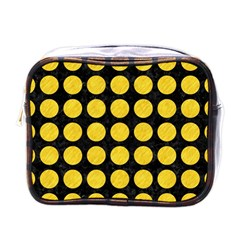 Circles1 Black Marble & Yellow Colored Pencil (r) Mini Toiletries Bags