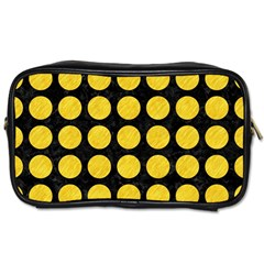 Circles1 Black Marble & Yellow Colored Pencil (r) Toiletries Bags