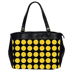 Circles1 Black Marble & Yellow Colored Pencil (r) Office Handbags (2 Sides)