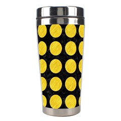Circles1 Black Marble & Yellow Colored Pencil (r) Stainless Steel Travel Tumblers