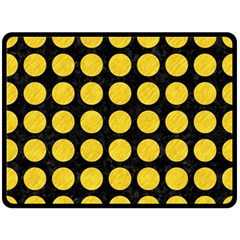 Circles1 Black Marble & Yellow Colored Pencil (r) Double Sided Fleece Blanket (large)