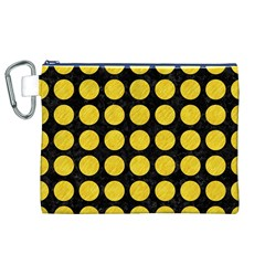 Circles1 Black Marble & Yellow Colored Pencil (r) Canvas Cosmetic Bag (xl)