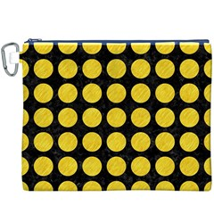 Circles1 Black Marble & Yellow Colored Pencil (r) Canvas Cosmetic Bag (xxxl)