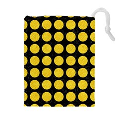 Circles1 Black Marble & Yellow Colored Pencil (r) Drawstring Pouches (extra Large)