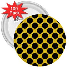 Circles2 Black Marble & Yellow Colored Pencil 3  Buttons (100 Pack)