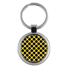 Circles2 Black Marble & Yellow Colored Pencil Key Chains (round)