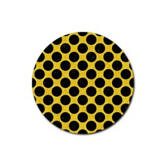 Circles2 Black Marble & Yellow Colored Pencil Rubber Coaster (round)