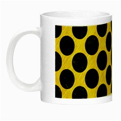 Circles2 Black Marble & Yellow Colored Pencil Night Luminous Mugs