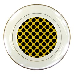 Circles2 Black Marble & Yellow Colored Pencil Porcelain Plates