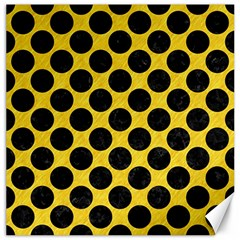 Circles2 Black Marble & Yellow Colored Pencil Canvas 20  X 20