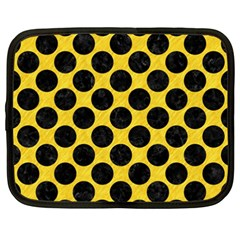 Circles2 Black Marble & Yellow Colored Pencil Netbook Case (xxl)