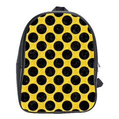 Circles2 Black Marble & Yellow Colored Pencil School Bag (large)
