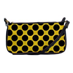 Circles2 Black Marble & Yellow Colored Pencil Shoulder Clutch Bags