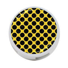 Circles2 Black Marble & Yellow Colored Pencil 4 Port Usb Hub (two Sides)