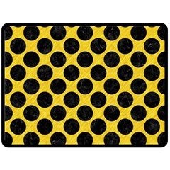 Circles2 Black Marble & Yellow Colored Pencil Fleece Blanket (large)