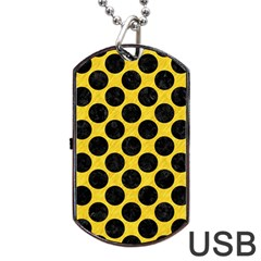 Circles2 Black Marble & Yellow Colored Pencil Dog Tag Usb Flash (two Sides)