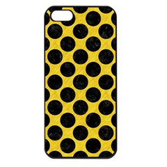 Circles2 Black Marble & Yellow Colored Pencil Apple Iphone 5 Seamless Case (black)
