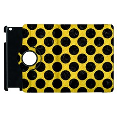 Circles2 Black Marble & Yellow Colored Pencil Apple Ipad 3/4 Flip 360 Case