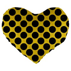 Circles2 Black Marble & Yellow Colored Pencil Large 19  Premium Heart Shape Cushions